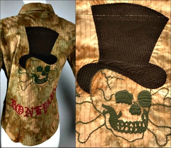 ViNtAgE Embroidered Skull Shirt Guns N' Roses tie dye Bone Yard Western Top Slash Grunge Blouse Coachella Rocker Free People Halloween