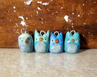 Owl Ornament Set of Four, Whimsical Christmas Tree Decoration, Woodland Holiday Decor, Parliament of Owls, Polymer Clay Ornaments, Cute Owls