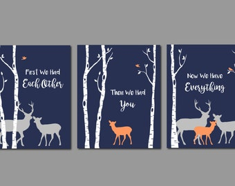 Deer Nursery Art, woodland Nursery Art, Baby Boy Nursery, Navy and Grey Nursery, First We Had Each Other, Deer Wall Decor, Deer Art, 8x10s