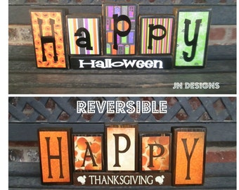 SALE--REVERSIBLE Happy Halloween and Thanksgiving blocks