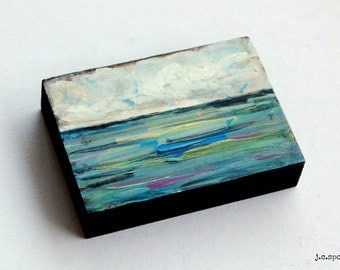 "Impressionist Painting, 2.5x3.5"" Mini Painting, Original Mixed Media, Impressionism, Landscape Painting, Abstract Art, ""Water Series No. 4"""