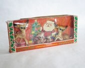 RESERVED Vintage Hard Plastic Reindeer, Hong Kong Deer Reindeer, Kitsch Hard Plastic Deer, Reindeer Fawn Bambi New Old Stock in Box