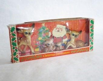 Vintage Hard Plastic Reindeer in Original Package Made in Japan / Kitsch Retro Plastic Deer Reindeer Fawn Bambi Figurines