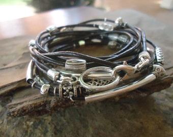 THOUSAND SPACER - dual leather wrap bracelet (1159)