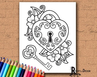 INSTANT DOWNLOAD Coloring Page - Key To My Heart, doodle art, printable