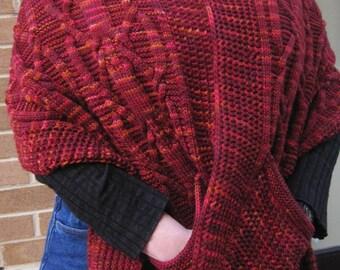 Knit Shawl Pattern: Warm Dundalk Pocket Shawl