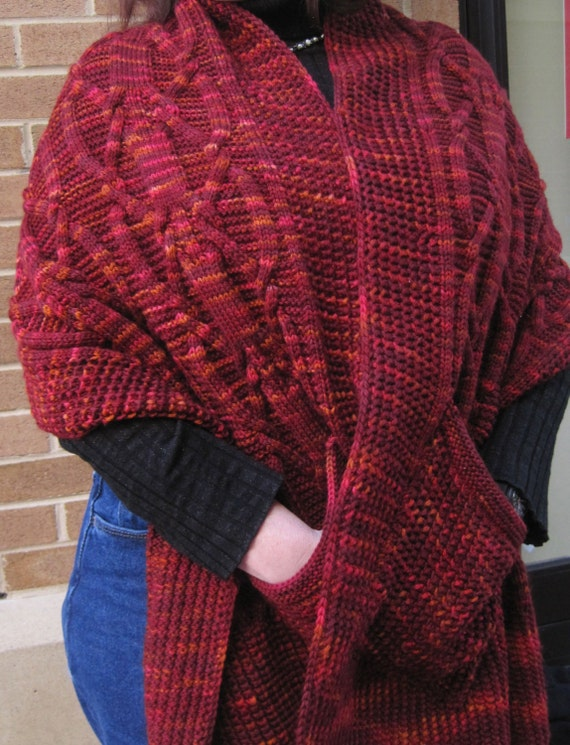 Knitting Pattern For A Shawl With Pockets : Knit Shawl Pattern: Warm Dundalk Pocket Shawl