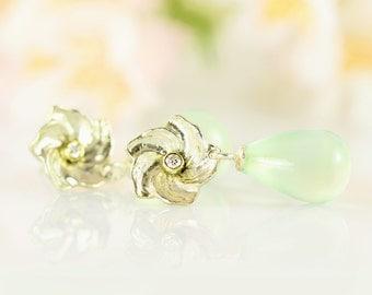 Garden drop earrings - Prehenite