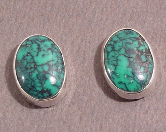 Spiderweb Turquoise and Sterling Silver Studs