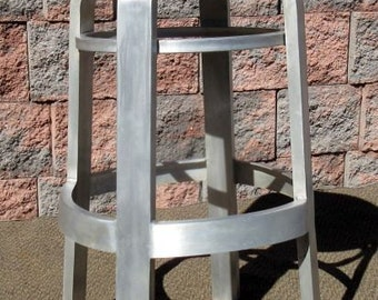 Vintage QUALITY Mid Century Modern Naval Aircraft Aluminum Stool ~ Chair