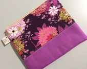 Purple Floral Zippered Pouch