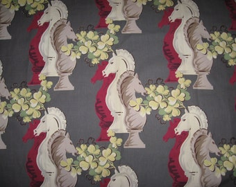 Dynamite large scale chess piece barkcloth vintage curtain panel burgundy red green cream taupe  grey black