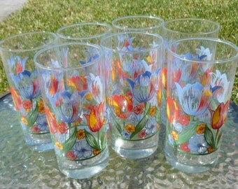 Spring Flowers Tumblers - Set of 7 - Tulips - Crisa - 16 Ounce - Weighted Base - Vintage - F