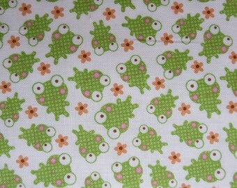 Weekly Special - Riley Blake - Sweet Baby Girl - Frogs White By Doodlebug Designs - 7.99 yard