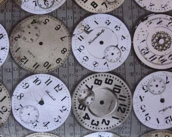 Tim Holtz New Fabric - Eclectic Elements Bridge Designs - Timepieces- Taupe