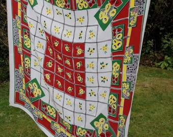 TABLECLOTH Large 1950s Vintage Red Yellow Flowers Grid Square 49""