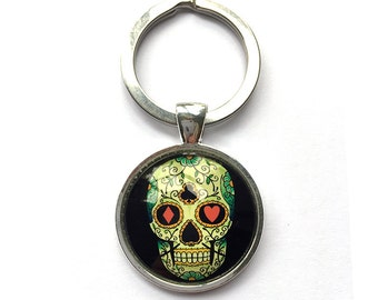 Wholesale Mexican Skull Silver Plated Key Rings -