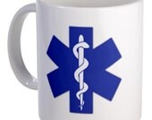 BLUE EMT Star of Life Fire Rescue Heroes Ceramic 11oz Coffee Cup Mug