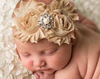 Baby headband,Newborn headband ,Baby girl Headband, Baptism Headband, Shabby chic Champagne headband, Flower girl  Headbands,Baby Headbands.