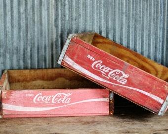 Vintage Wooden Soda Crate - Coke Coca Cola Soda  Crate - Display Shelf or Storage - Christmas Decor