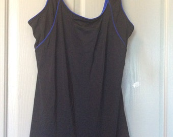 Reserved/Swim dress, New  without tags plus size 20, no label, no bottom/black with blue piping