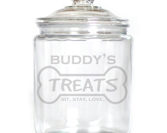 Engraved Personalized Glass Canister in Half Gallon, Gallon or 2 Gallon sizes etched cookie jar w/design 7540 Pet treats personalized