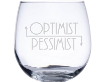 Stemless Red Wine Glass-17 oz.-7757 Optimist/Pessimist