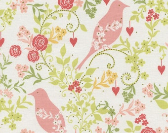 Flourish Birds C3640-Ivory - BIRD SONG -  Timeless Treasures Fabric - By the Yard