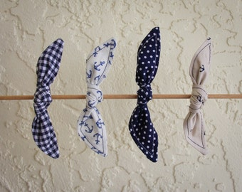Hair Bows Set of Knotted Bows Navy Blue Polka Dots Gingham Anchors Girl Teen Women Hair Accessory French Barrette Alligator Clip Hair Ties