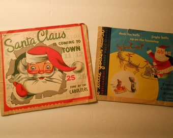 vintage Christmas records Santa Claus is Coming + Golden record favorite songs
