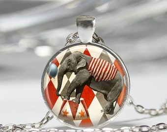 ON SALE Circus Jewelry Elephant Necklace Three Ring Big Top Carnival Art Pendant in Bronze or Silver with Link Chain Included
