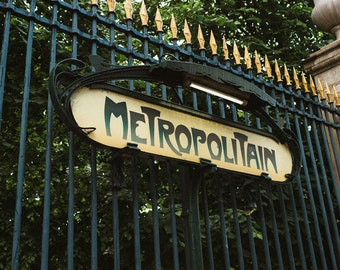 Metropolitain Sign In Paris - Photograph