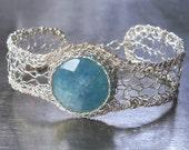 Angelite Bracelet, Sterling Silver Knit Wire Crochet Gemstone Bracelet
