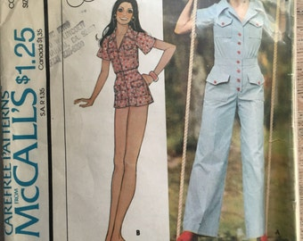 RARE 1975 McCall's Sewing Pattern 4400 Misses Jumpsuit Long or Short Size 12-14 cut- 1970s jumpsuit, short jumpsuit, summer pattern, 1970s