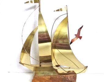 Sailboat Sculpture Nautical Sea Brass Metal Sailboat Onyx Base 1970s Beach Decor