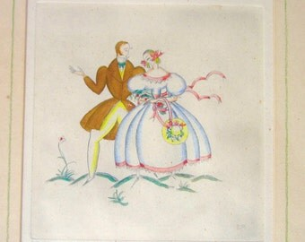 Art Deco Vintage Etching Victorian Costume Artist Proof Sylvia Penther Signed Wall Hanging Picture
