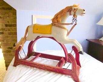 Rocking Horse Antique White Horse Glider Americana Folk Art Collectible Decor 1800s