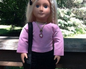 20% OFF - 18 Inch Doll Clothes Pink and Black Skirt and Top Outfit including Purse, ruffled skirt, girls gift for doll like American Girl, g