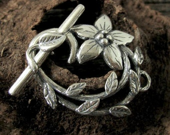 Sterling Silver Toggle Clasp Set - Leaves and Vining Flower - 26.25mm T85