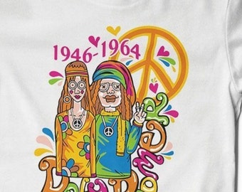 Baby Boomer Tees Groovy Hippie Peace Sign Cotton Printed Tee bitchin Woodstock festival grateful unisex men ladies white soft comfy summer