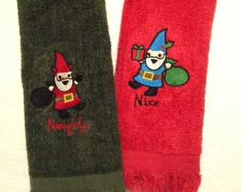 Naughty or Nice Gnome Fingertip Towels