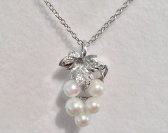 Vintage Pearl Cluster Pendant and Chain