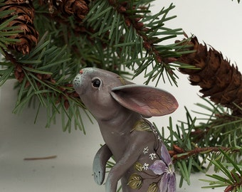 Clematis Blossom Rabbit. Polymer clay miniature by Madre Olius.