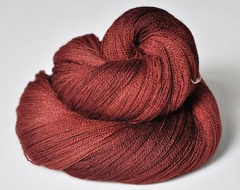 Burnt terracotta OOAK - Merino/Silk/Cashmere Fine Lace Yarn