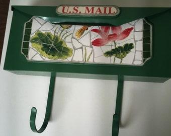 Vintage Green Mosaic Wallmount Mailbox