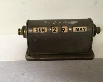 Vintage Perpetual Desk Calendar in Brass