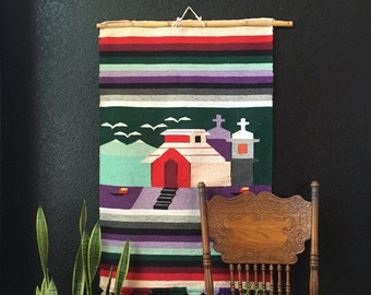large vintage woven southwestern boho church scenery wall hanging tapestry / textile / fiber art