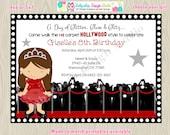 Hollywood diva red carpet birthday party invitation invite, hollywood party, glamour party invite, digital diy printable