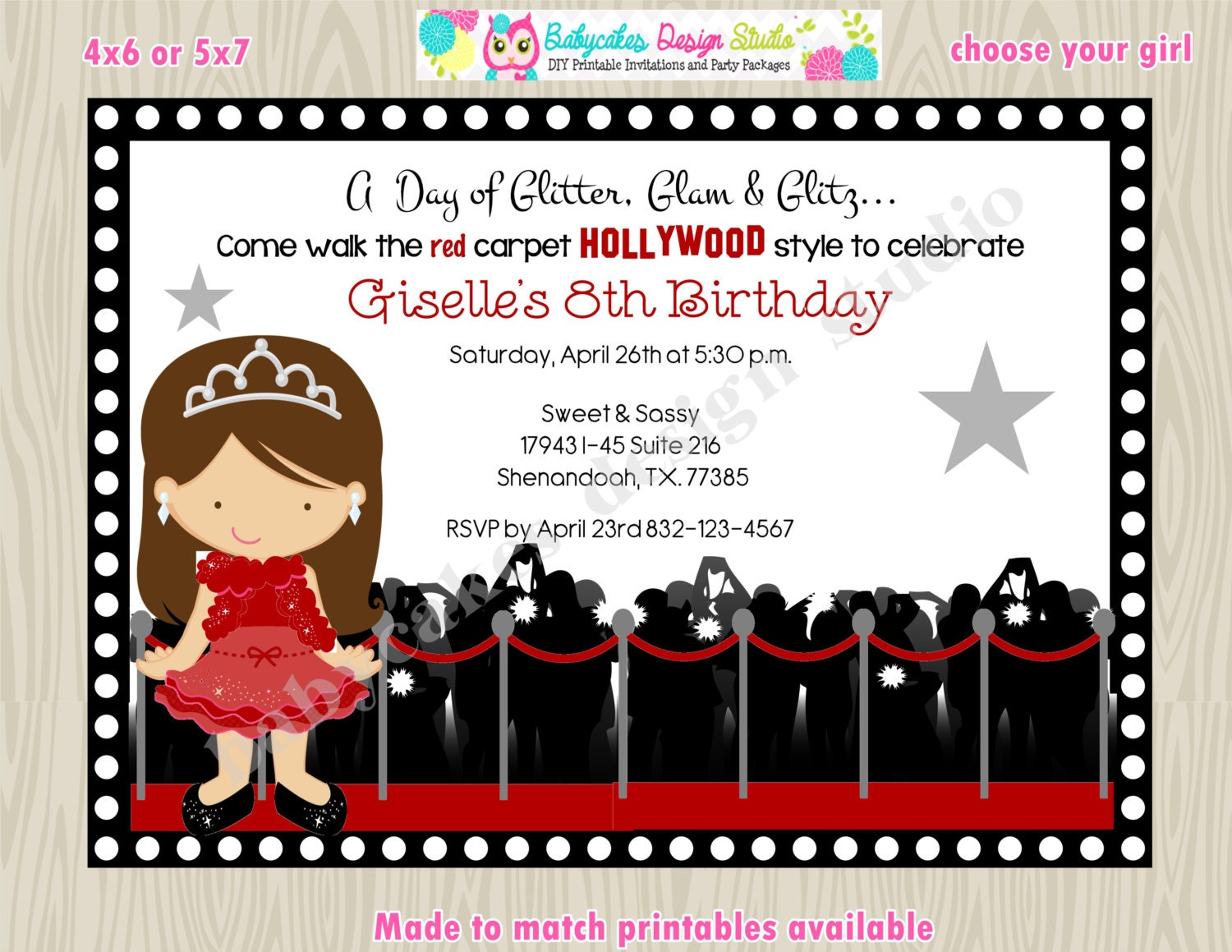 Hollywood diva red carpet birthday party invitation invite – Red Carpet Party Invitation
