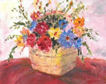 Original acrylic floral painting Colorful Floral Bouquet painting 8x10